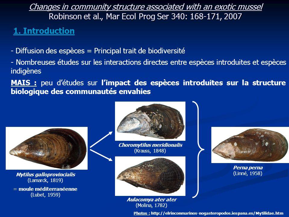 Changes in community structure associated with an exotic mussel Robinson et al., Mar Ecol Prog Ser 340: 168-171, 2007 Limites de l'échantillonnage de 1980 : Critiques : - Ø donnée sur la composition algale des communautés collectées - Ø mesure de biomasse pour certaines espèces - Petit nombre d'échantillons collectés Limites de l'étude : - Fortes relations : - entre la macrofaune et les débris organiques - entre les taux de consommation d'O 2 => Nécessité d'une approche écologique des communautés (J.