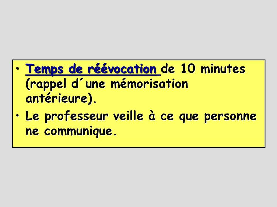 •Temps de réévocation de 10 minutes (rappel d´une mémorisation antérieure). Temps de réévocation Temps de réévocation •Le professeur veille à ce que p