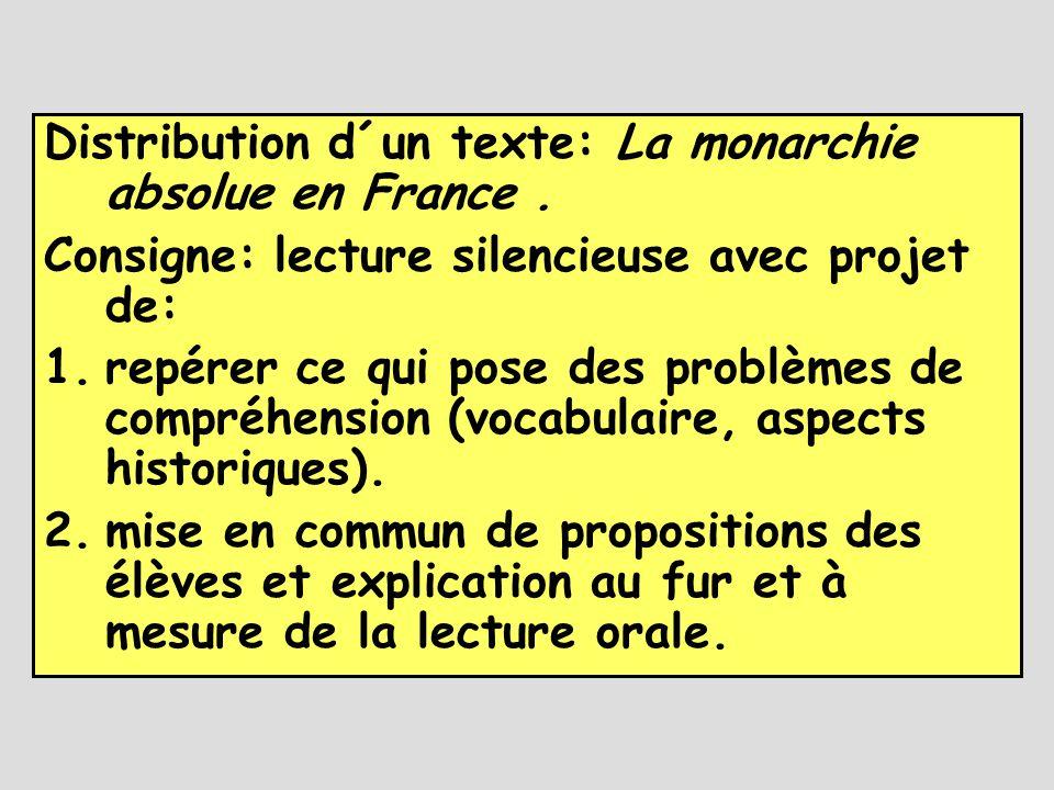 Distribution d´un texte: La monarchie absolue en France. Consigne: lecture silencieuse avec projet de: 1.repérer ce qui pose des problèmes de compréhe