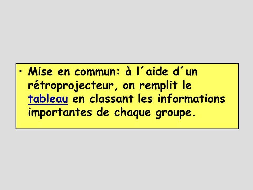 •Mise en commun: à l´aide d´un rétroprojecteur, on remplit le tableau en classant les informations importantes de chaque groupe.