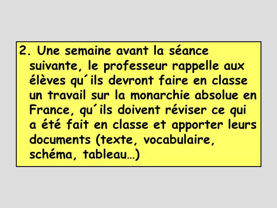 2. Une semaine avant la séance suivante, le professeur rappelle aux élèves qu´ils devront faire en classe un travail sur la monarchie absolue en Franc