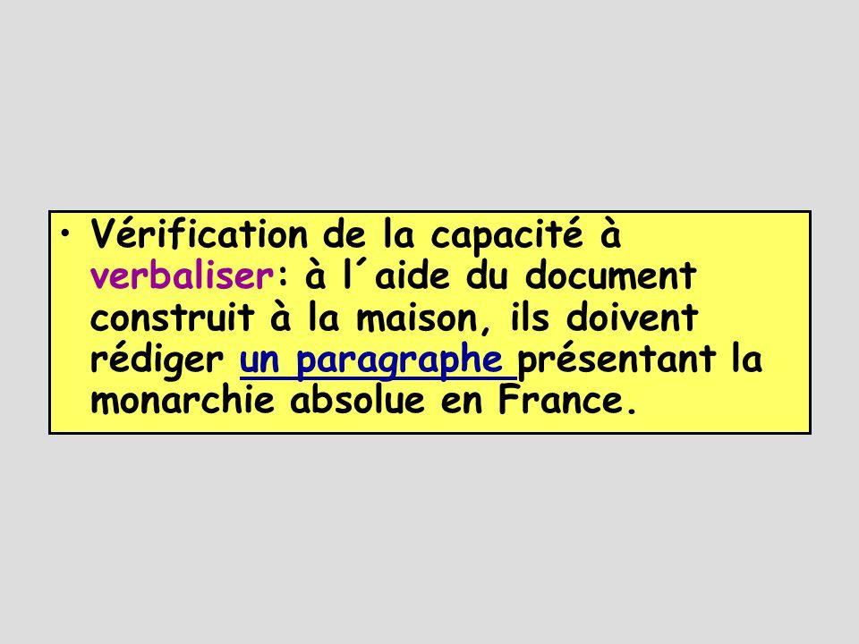 •Vérification de la capacité à verbaliser: à l´aide du document construit à la maison, ils doivent rédiger un paragraphe présentant la monarchie absolue en France.un paragraphe