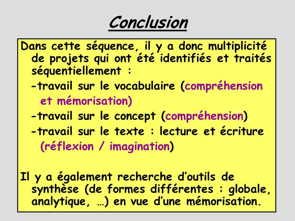 Conclusion Dans cette séquence, il y a donc multiplicité de projets qui ont été identifiés et traités séquentiellement : -travail sur le vocabulaire (compréhension et mémorisation) -travail sur le concept (compréhension) -travail sur le texte : lecture et écriture (réflexion / imagination) Il y a également recherche d'outils de synthèse (de formes différentes : globale, analytique, …) en vue d'une mémorisation.