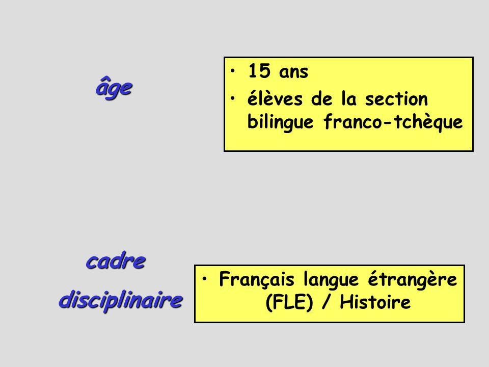 âge •15 ans •élèves de la section bilingue franco-tchèque •Français langue étrangère (FLE) / Histoire cadre disciplinaire disciplinaire