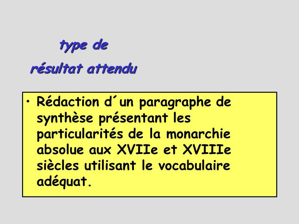 •Rédaction d´un paragraphe de synthèse présentant les particularités de la monarchie absolue aux XVIIe et XVIIIe siècles utilisant le vocabulaire adéquat.