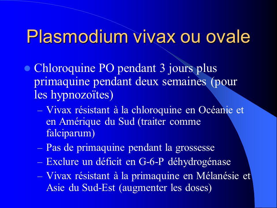 Plasmodium vivax ou ovale  Chloroquine PO pendant 3 jours plus primaquine pendant deux semaines (pour les hypnozoïtes) – Vivax résistant à la chloroq
