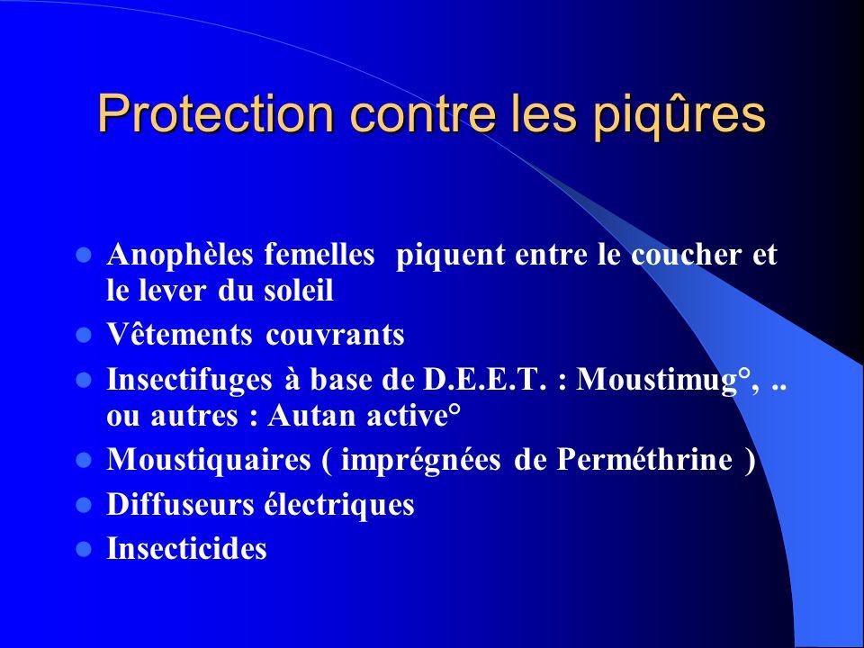 Protection contre les piqûres  Anophèles femelles piquent entre le coucher et le lever du soleil  Vêtements couvrants  Insectifuges à base de D.E.E
