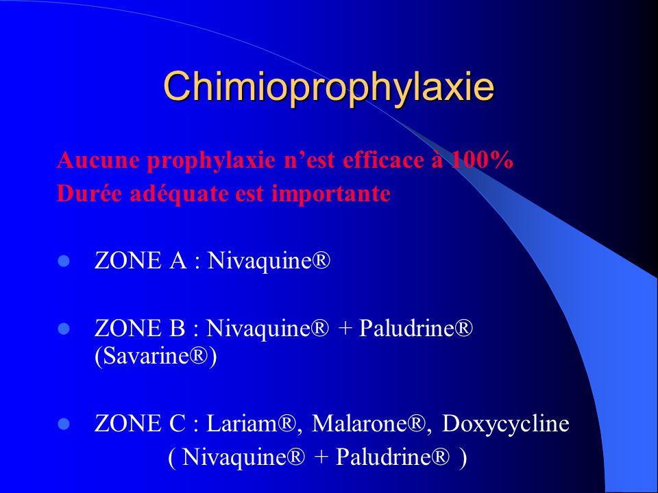 Chimioprophylaxie Aucune prophylaxie n'est efficace à 100% Durée adéquate est importante  ZONE A : Nivaquine®  ZONE B : Nivaquine® + Paludrine® (Savarine®)  ZONE C : Lariam®, Malarone®, Doxycycline ( Nivaquine® + Paludrine® )