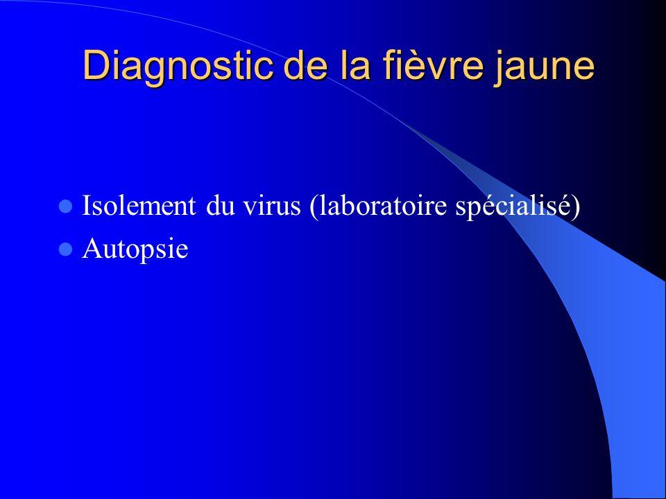 Diagnostic de la fièvre jaune  Isolement du virus (laboratoire spécialisé)  Autopsie