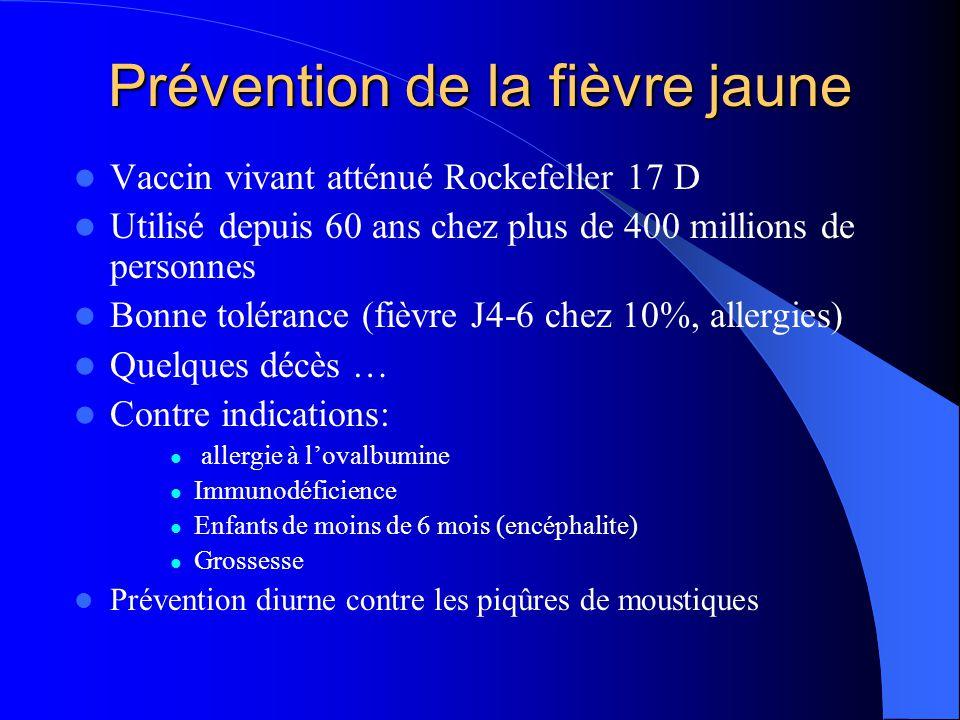 Prévention de la fièvre jaune  Vaccin vivant atténué Rockefeller 17 D  Utilisé depuis 60 ans chez plus de 400 millions de personnes  Bonne toléranc