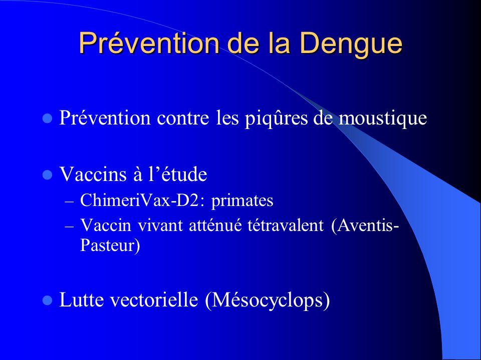 Prévention de la Dengue  Prévention contre les piqûres de moustique  Vaccins à l'étude – ChimeriVax-D2: primates – Vaccin vivant atténué tétravalent