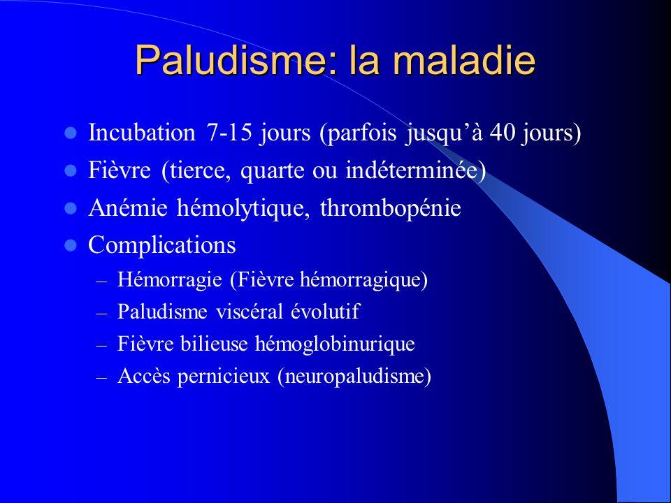 Paludisme: la maladie  Incubation 7-15 jours (parfois jusqu'à 40 jours)  Fièvre (tierce, quarte ou indéterminée)  Anémie hémolytique, thrombopénie
