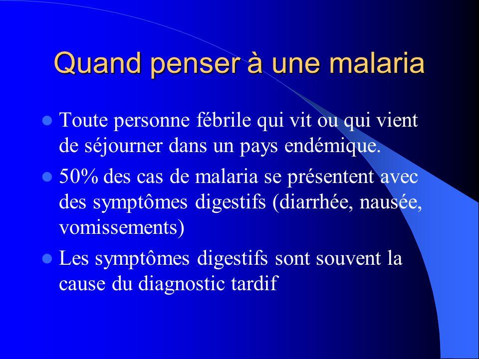 Quand penser à une malaria  Toute personne fébrile qui vit ou qui vient de séjourner dans un pays endémique.  50% des cas de malaria se présentent a