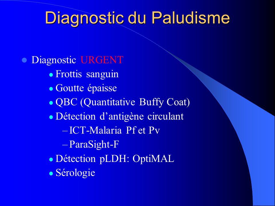Diagnostic du Paludisme  Diagnostic URGENT  Frottis sanguin  Goutte épaisse  QBC (Quantitative Buffy Coat)  Détection d'antigène circulant –ICT-M