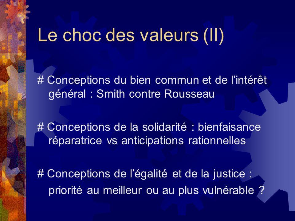 Le choc des valeurs (II) # Conceptions du bien commun et de l'intérêt général : Smith contre Rousseau # Conceptions de la solidarité : bienfaisance réparatrice vs anticipations rationnelles # Conceptions de l'égalité et de la justice : priorité au meilleur ou au plus vulnérable ?