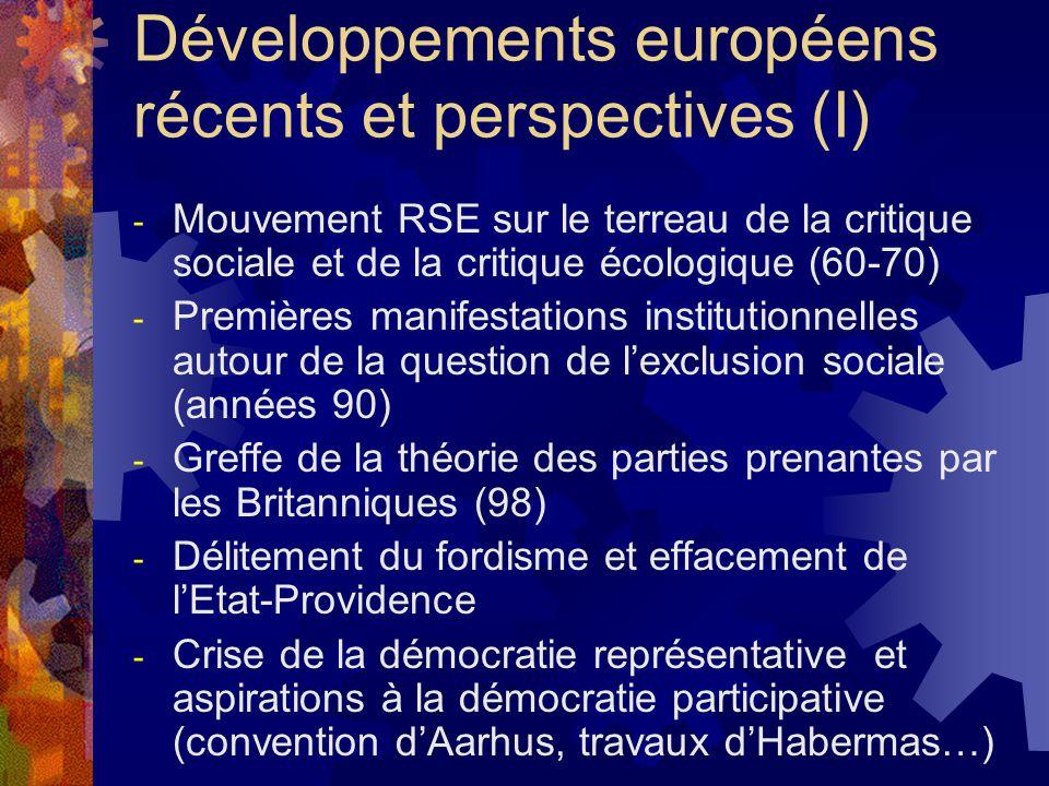 Développements européens récents et perspectives (I) - Mouvement RSE sur le terreau de la critique sociale et de la critique écologique (60-70) - Premières manifestations institutionnelles autour de la question de l'exclusion sociale (années 90) - Greffe de la théorie des parties prenantes par les Britanniques (98) - Délitement du fordisme et effacement de l'Etat-Providence - Crise de la démocratie représentative et aspirations à la démocratie participative (convention d'Aarhus, travaux d'Habermas…)