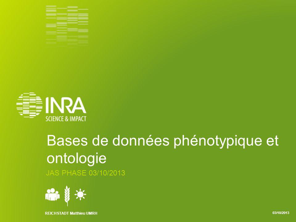 REICHSTADT Matthieu UMRH 03/10/2013 Bases de données phénotypique et ontologie JAS PHASE 03/10/2013