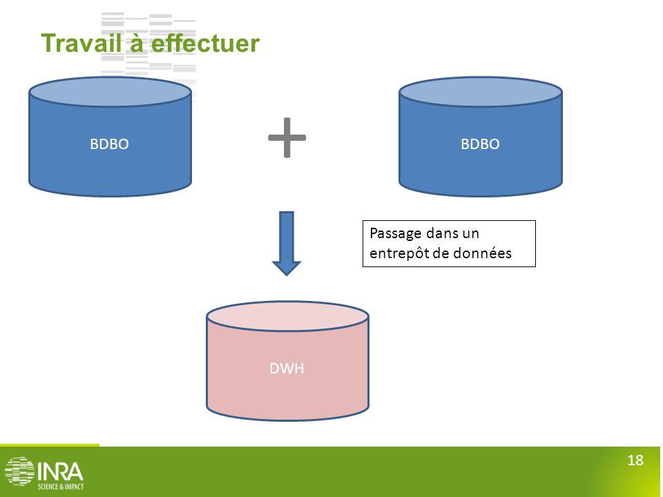18 Travail à effectuer BDBO Passage dans un entrepôt de données BDBO + DWH