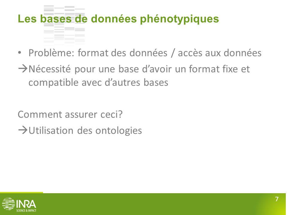 7 Les bases de données phénotypiques • Problème: format des données / accès aux données  Nécessité pour une base d'avoir un format fixe et compatible