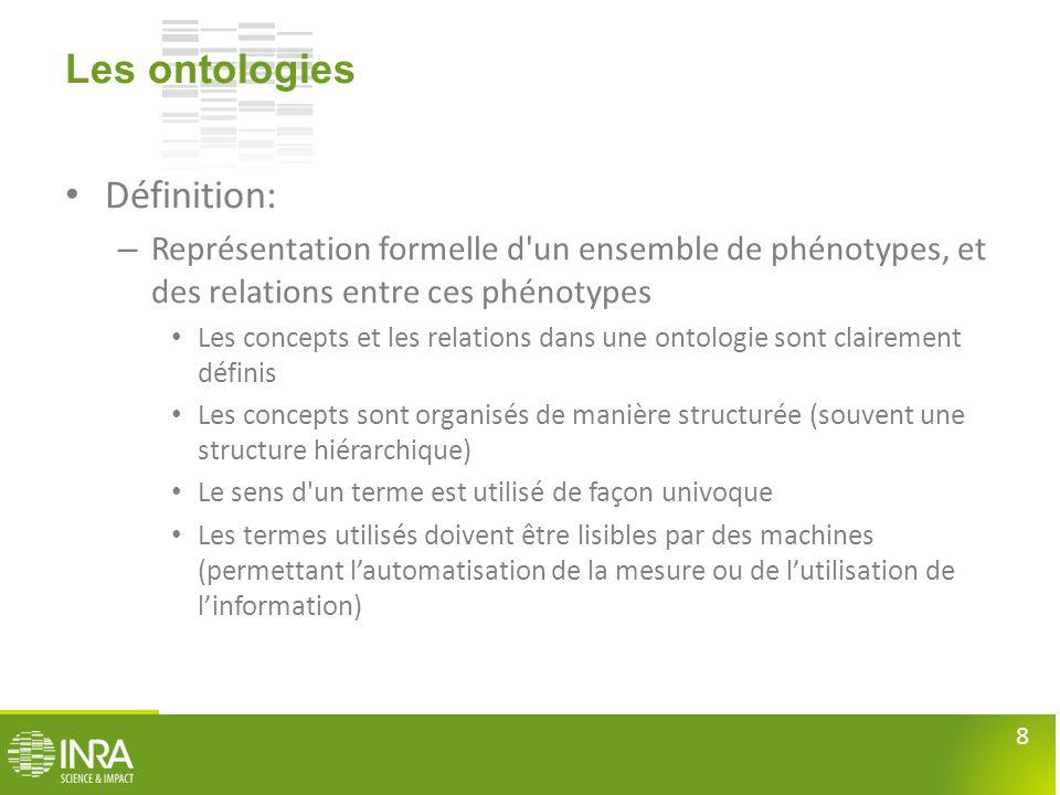 8 Les ontologies • Définition: – Représentation formelle d'un ensemble de phénotypes, et des relations entre ces phénotypes • Les concepts et les rela