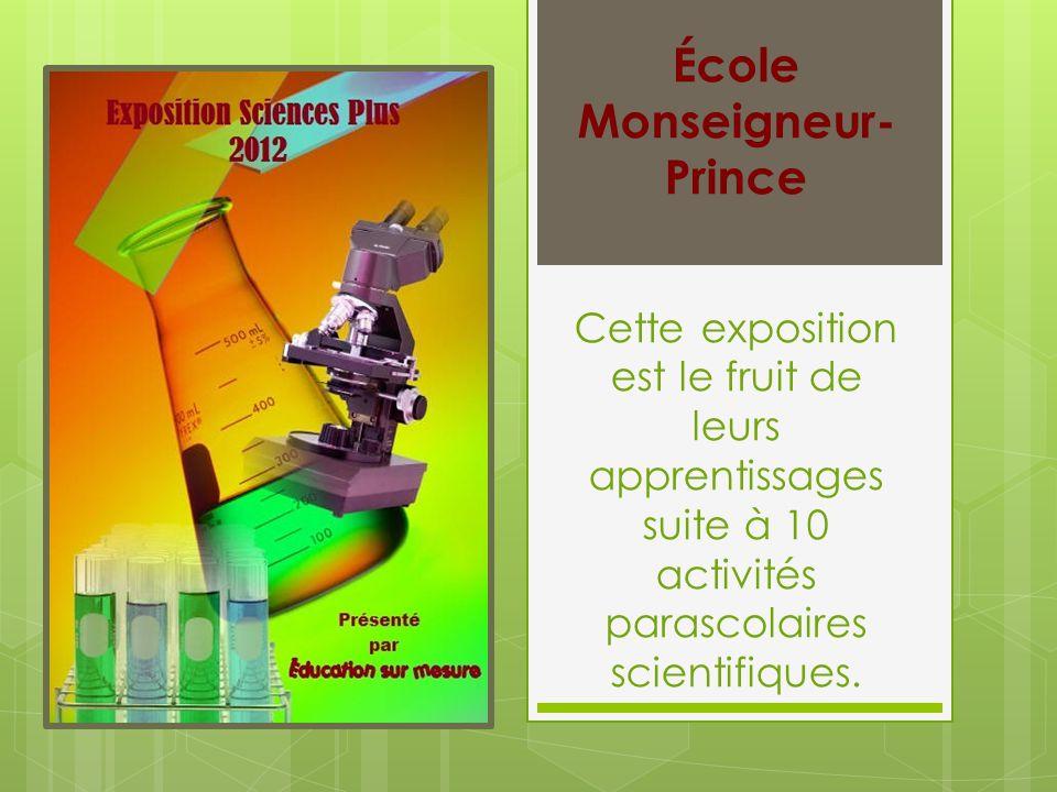 Cette exposition est le fruit de leurs apprentissages suite à 10 activités parascolaires scientifiques. École Monseigneur- Prince