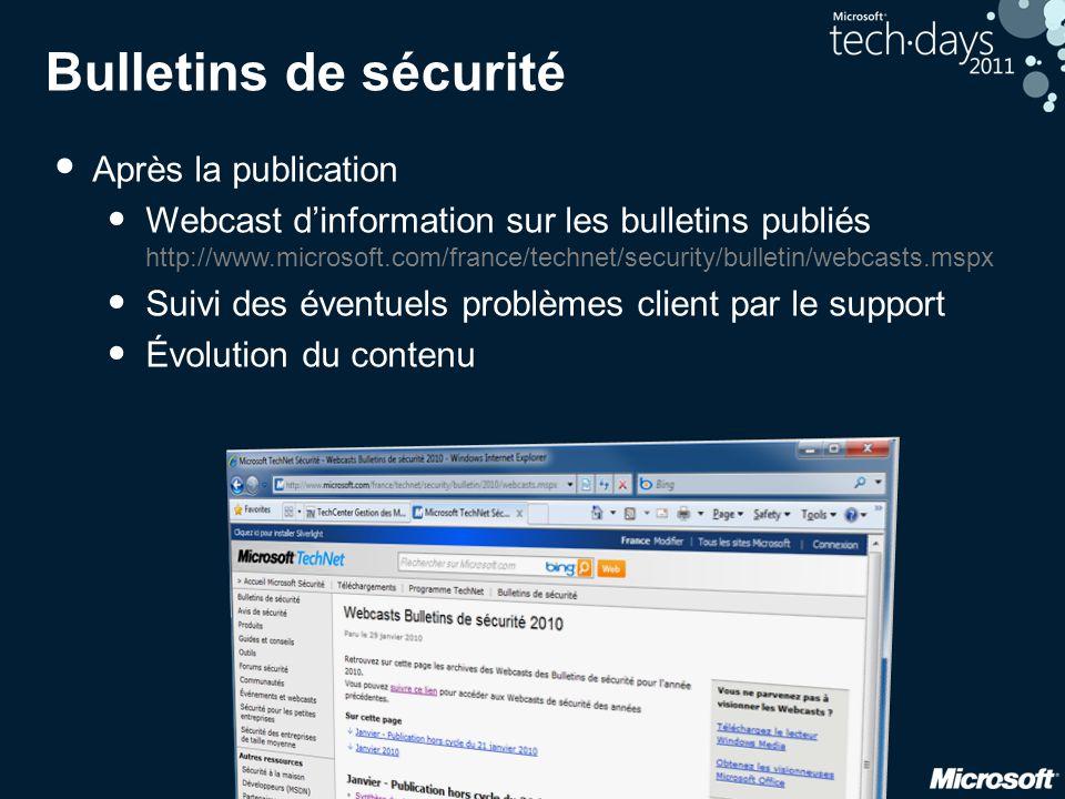 Bulletins de sécurité • Après la publication • Webcast d'information sur les bulletins publiés http://www.microsoft.com/france/technet/security/bullet