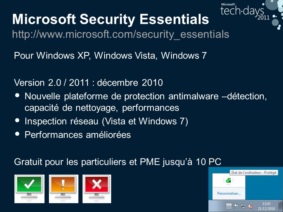 Microsoft Security Essentials http://www.microsoft.com/security_essentials Pour Windows XP, Windows Vista, Windows 7 Version 2.0 / 2011 : décembre 2010 • Nouvelle plateforme de protection antimalware –détection, capacité de nettoyage, performances • Inspection réseau (Vista et Windows 7) • Performances améliorées Gratuit pour les particuliers et PME jusqu'à 10 PC