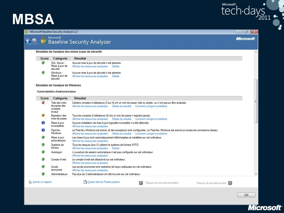 Security Compliance Monitor (SCM) Manipulation de configurations de sécurité • Documentation des recommandations • Modèles (baselines) pour • Windows XP, Vista, 7 ; IE8 • Office 2007, 2010 • Windows Server 2008, 2008 R2 • Export vers DCM, SCAP, GPO, stratégie locale