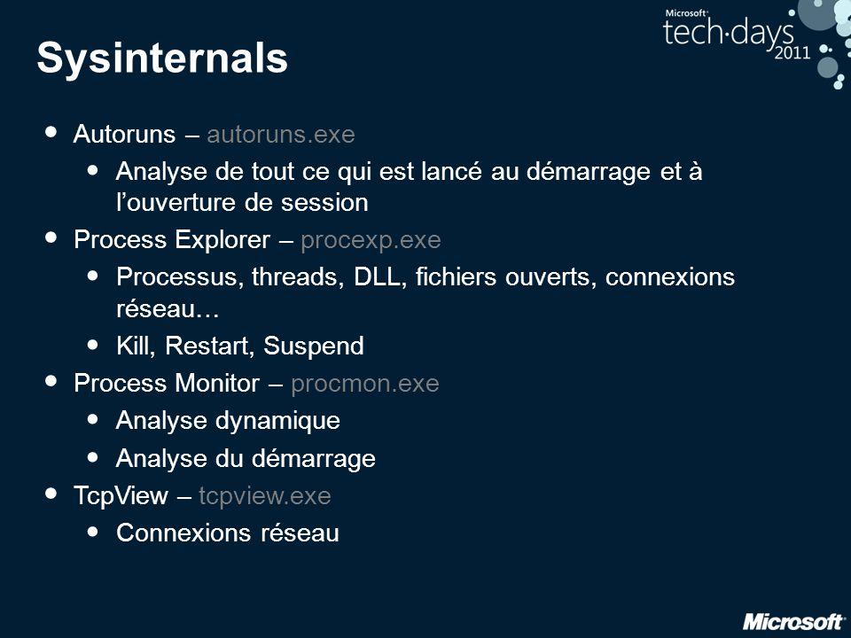 Sysinternals • Autoruns – autoruns.exe • Analyse de tout ce qui est lancé au démarrage et à l'ouverture de session • Process Explorer – procexp.exe •