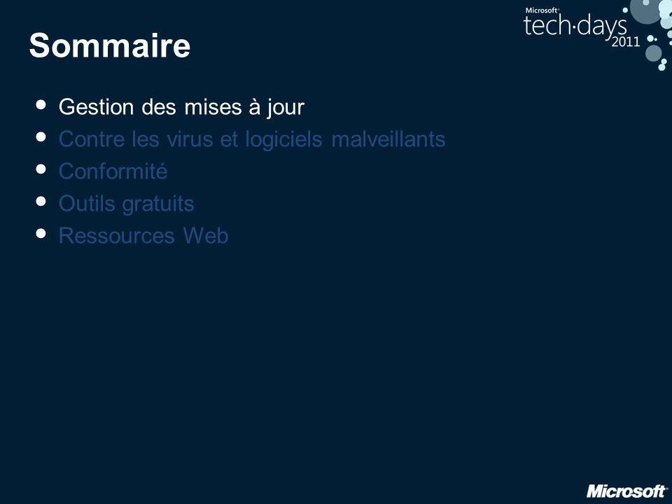 Sommaire • Gestion des mises à jour • Contre les virus et logiciels malveillants • Conformité • Outils gratuits • Ressources Web