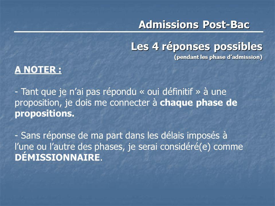 Admissions Post-Bac Les 4 réponses possibles (pendant les phase d'admission) A NOTER : - Tant que je n'ai pas répondu « oui définitif » à une proposition, je dois me connecter à chaque phase de propositions.
