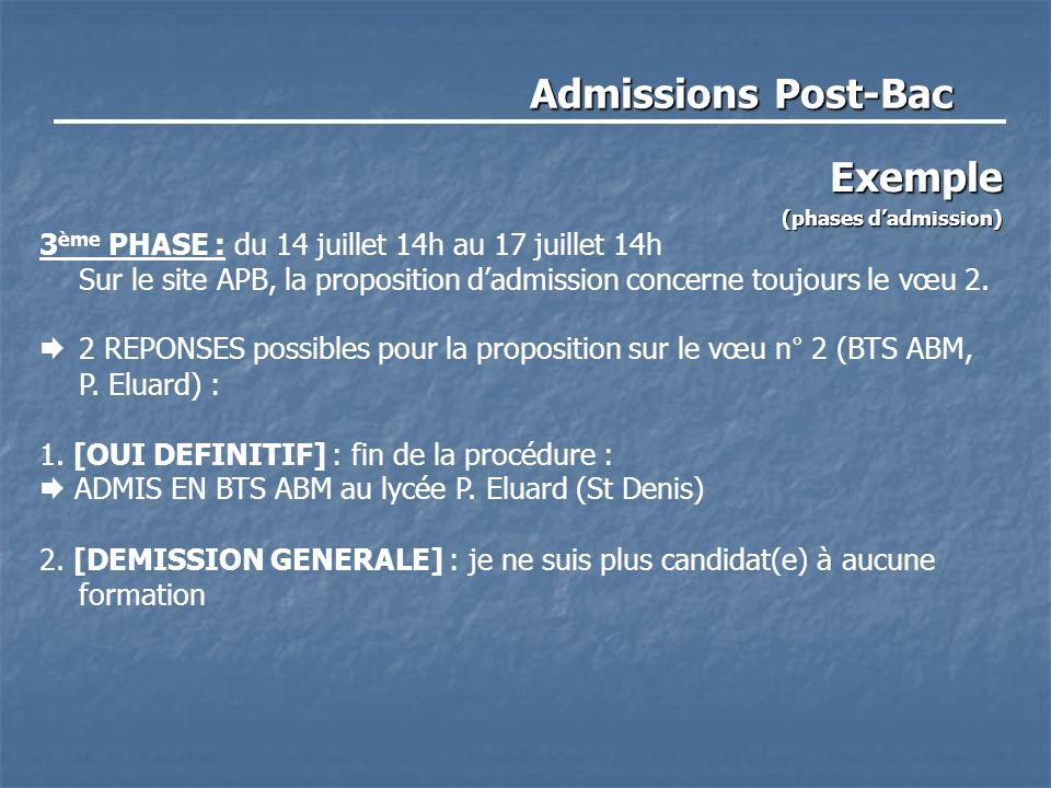 Admissions Post-Bac Exemple (phases d'admission) 3 ème PHASE : du 14 juillet 14h au 17 juillet 14h Sur le site APB, la proposition d'admission concern