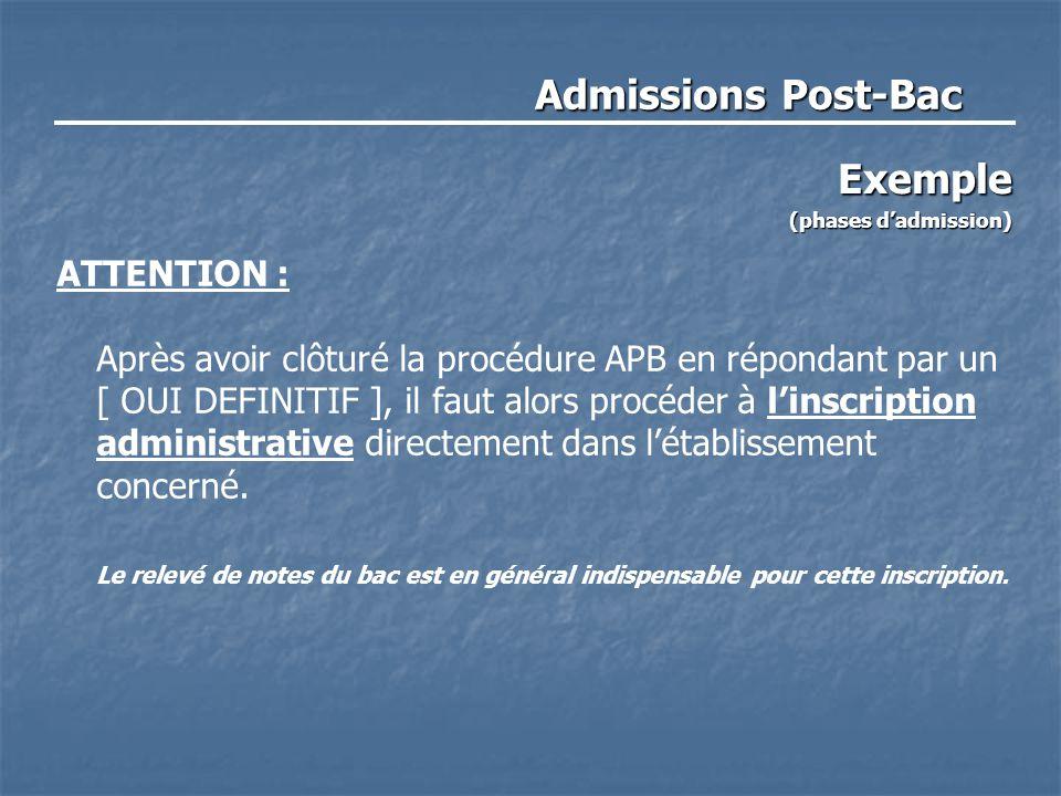 Admissions Post-Bac Exemple (phases d'admission) ATTENTION : Après avoir clôturé la procédure APB en répondant par un [ OUI DEFINITIF ], il faut alors