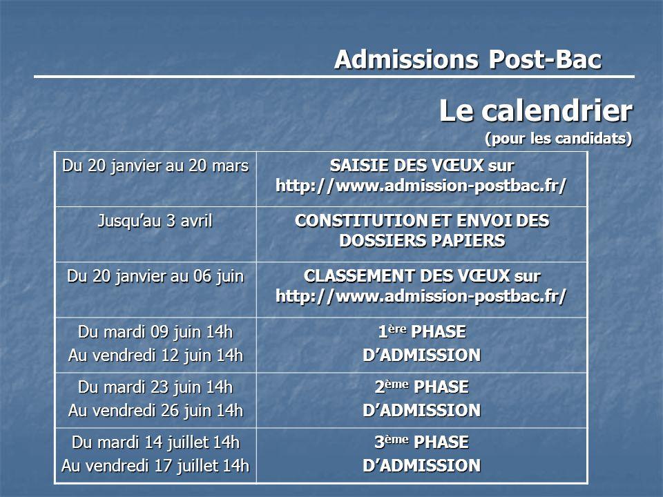 Admissions Post-Bac Le calendrier (pour les candidats) Du 20 janvier au 20 mars SAISIE DES VŒUX sur http://www.admission-postbac.fr/ Jusqu'au 3 avril CONSTITUTION ET ENVOI DES DOSSIERS PAPIERS Du 20 janvier au 06 juin CLASSEMENT DES VŒUX sur http://www.admission-postbac.fr/ Du mardi 09 juin 14h Au vendredi 12 juin 14h 1 ère PHASE D'ADMISSION Du mardi 23 juin 14h Au vendredi 26 juin 14h 2 ème PHASE D'ADMISSION Du mardi 14 juillet 14h Au vendredi 17 juillet 14h 3 ème PHASE D'ADMISSION