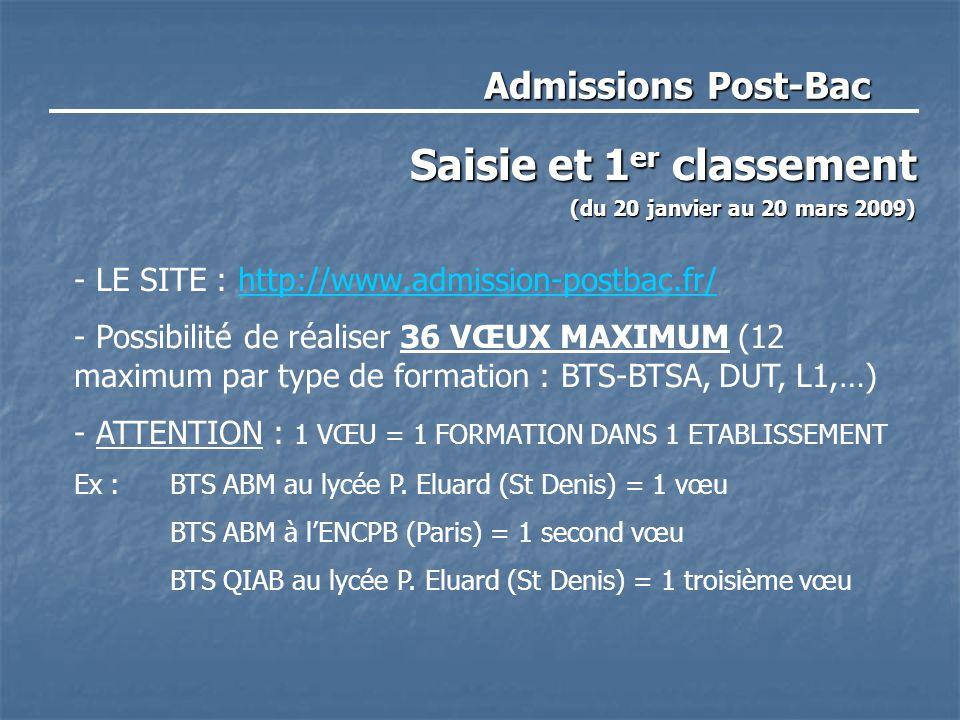 Admissions Post-Bac Saisie et 1 er classement (du 20 janvier au 20 mars 2009) - LE SITE : http://www.admission-postbac.fr/http://www.admission-postbac