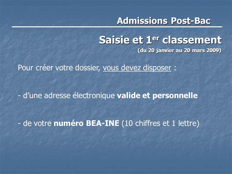 Admissions Post-Bac Saisie et 1 er classement (du 20 janvier au 20 mars 2009) Pour créer votre dossier, vous devez disposer : - d'une adresse électronique valide et personnelle - de votre numéro BEA-INE (10 chiffres et 1 lettre)
