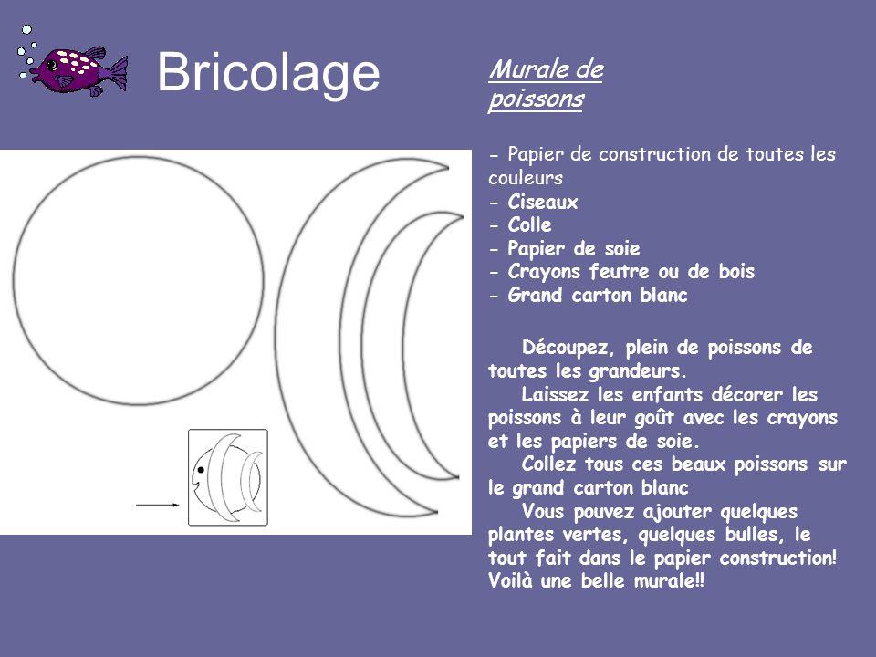 Bricolage Murale de poissons - Papier de construction de toutes les couleurs - Ciseaux - Colle - Papier de soie - Crayons feutre ou de bois - Grand ca