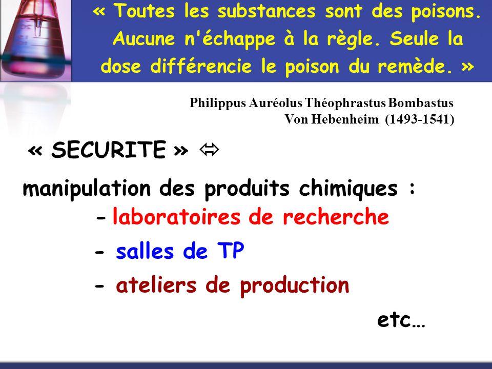 - laboratoires de recherche - salles de TP - ateliers de production etc… « Toutes les substances sont des poisons. Aucune n'échappe à la règle. Seule