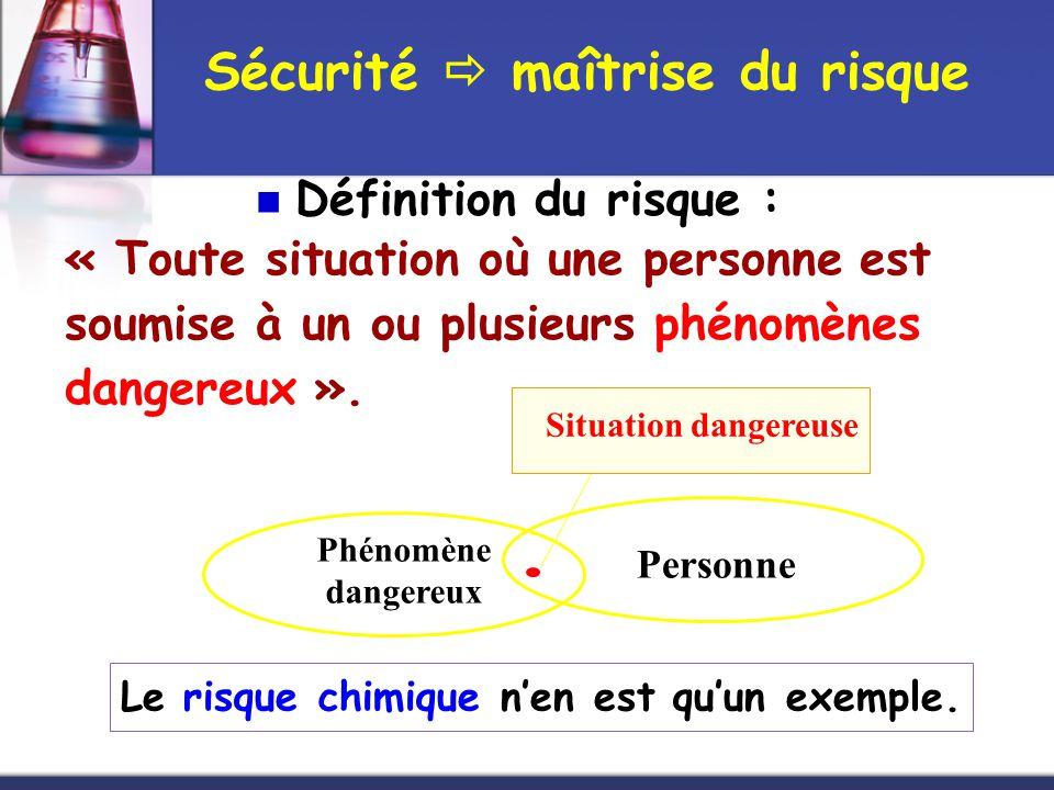 Sécurité  maîtrise du risque  Définition du risque : « Toute situation où une personne est soumise à un ou plusieurs phénomènes dangereux ». Le risq