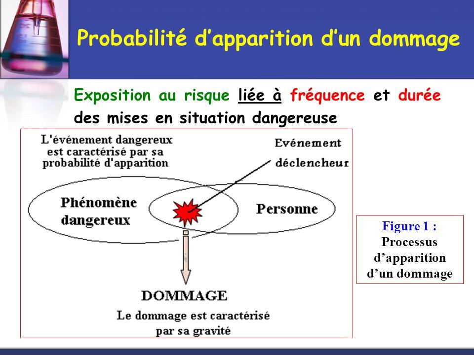 Exposition au risque liée à fréquence et durée des mises en situation dangereuse Figure 1 : Processus d'apparition d'un dommage Probabilité d'appariti