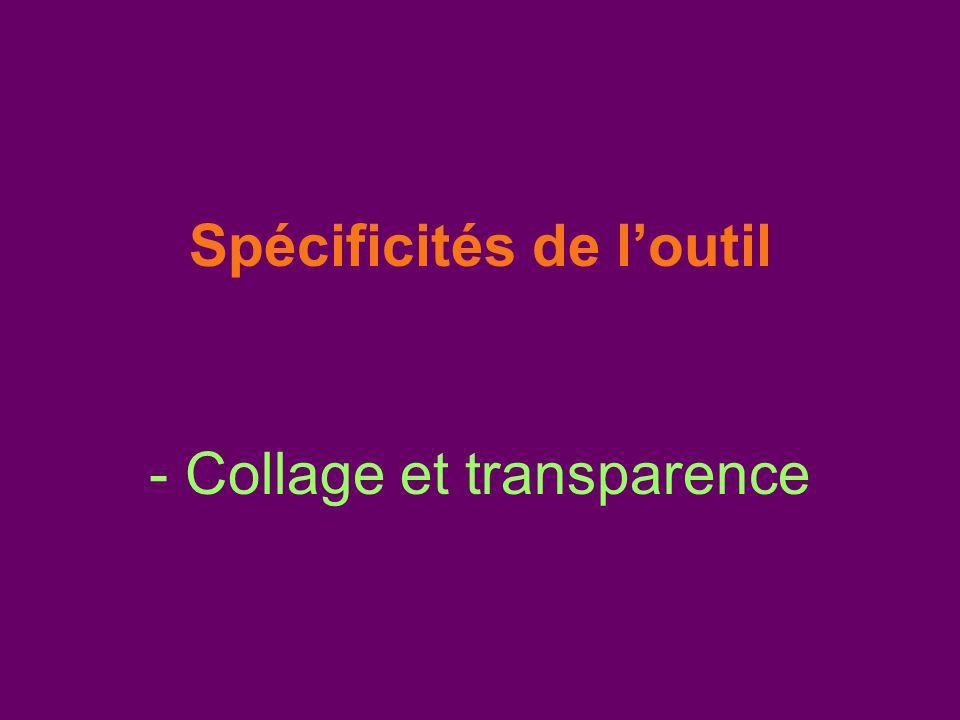 Spécificités de l'outil - Collage et transparence