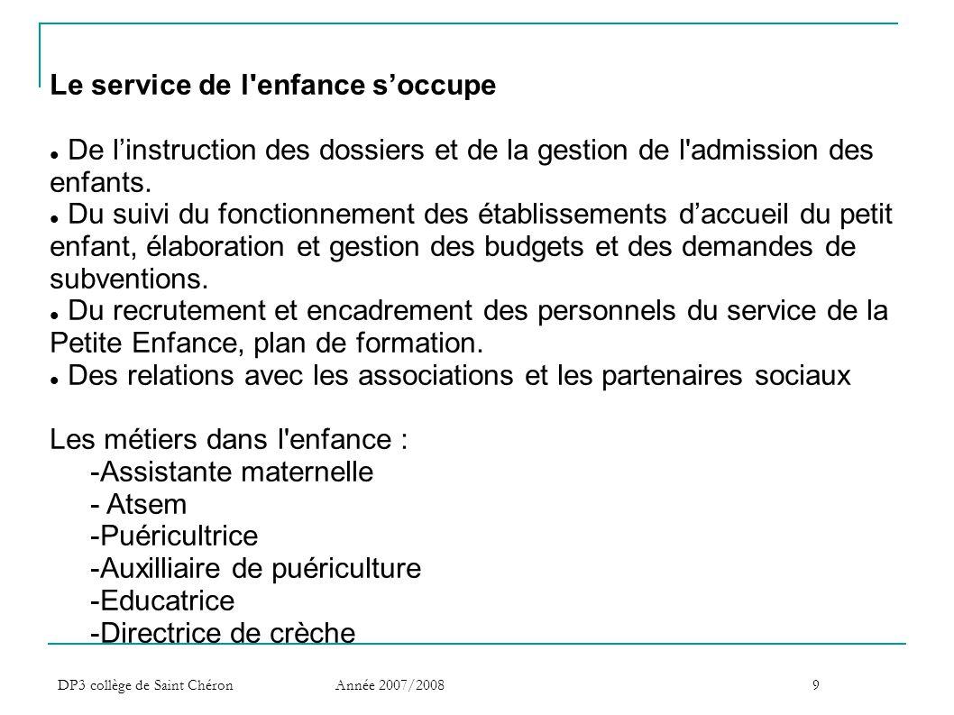 DP3 collège de Saint Chéron Année 2007/20089 Le service de l'enfance s'occupe  De l'instruction des dossiers et de la gestion de l'admission des enfa