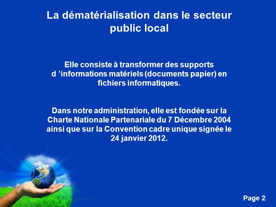 Free Powerpoint Templates Page 2 La dématérialisation dans le secteur public local Elle consiste à transformer des supports d 'informations matériels (documents papier) en fichiers informatiques.