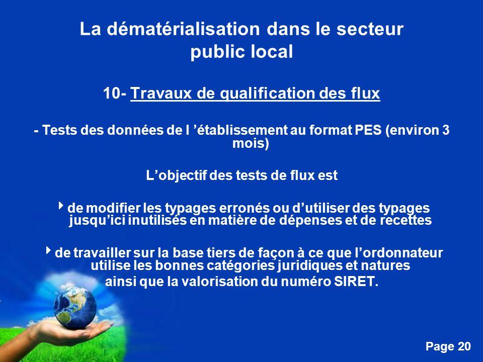 Free Powerpoint Templates Page 20 La dématérialisation dans le secteur public local 10- Travaux de qualification des flux - Tests des données de l 'établissement au format PES (environ 3 mois) L'objectif des tests de flux est  de modifier les typages erronés ou d'utiliser des typages jusqu'ici inutilisés en matière de dépenses et de recettes  de travailler sur la base tiers de façon à ce que l'ordonnateur utilise les bonnes catégories juridiques et natures ainsi que la valorisation du numéro SIRET.
