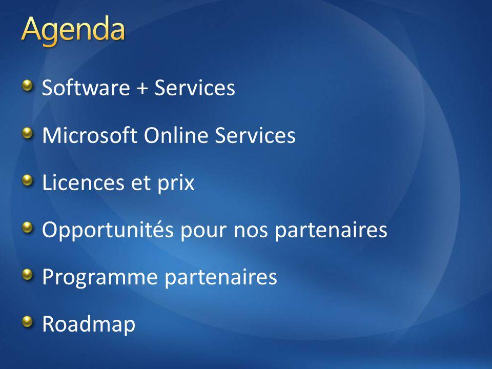 Software + Services Microsoft Online Services Licences et prix Opportunités pour nos partenaires Programme partenaires Roadmap
