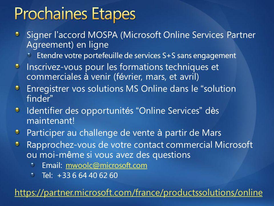 Signer l ' accord MOSPA (Microsoft Online Services Partner Agreement) en ligne Etendre votre portefeuille de services S+S sans engagement Inscrivez-vo