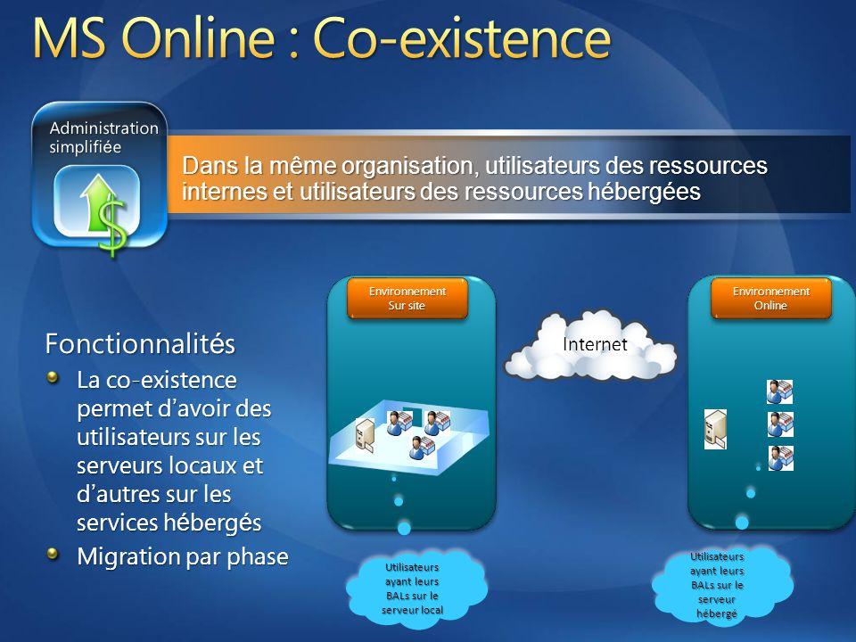 Fonctionnalit é s La co-existence permet d ' avoir des utilisateurs sur les serveurs locaux et d ' autres sur les services h é berg é s Migration par