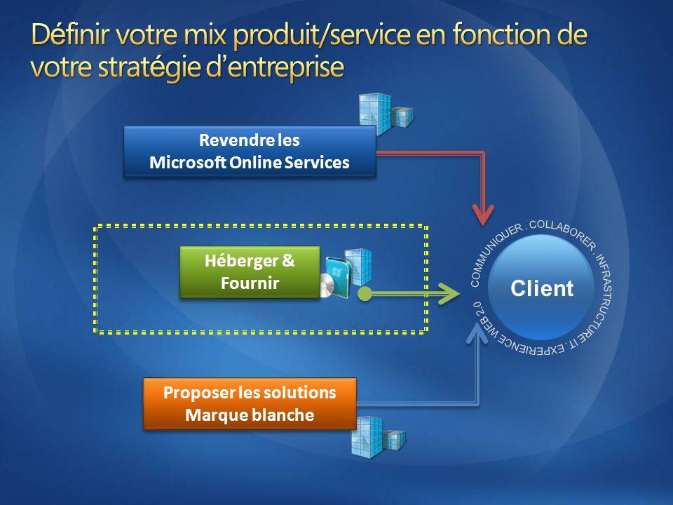 Client Revendre les Microsoft Online Services Proposer les solutions Marque blanche Héberger & Fournir