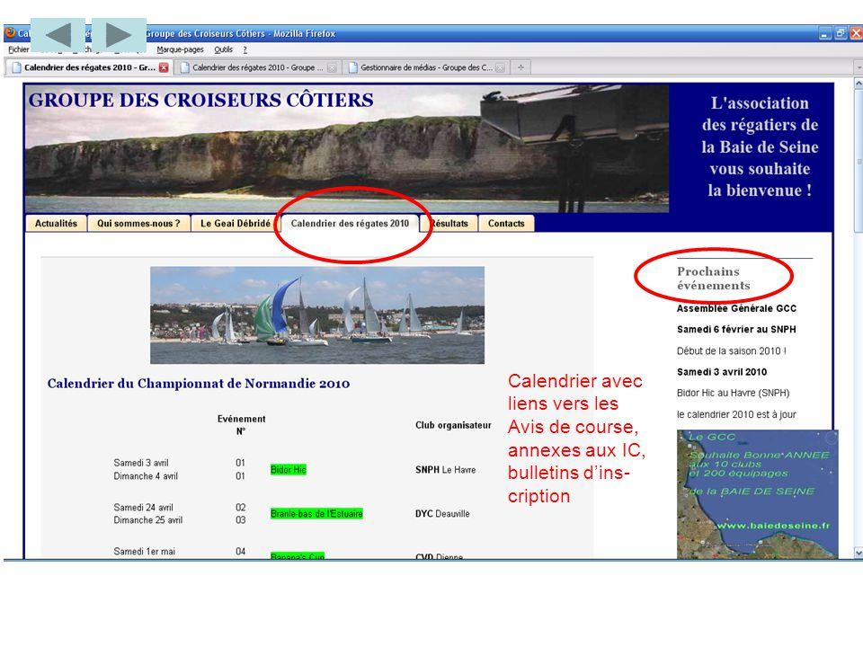 Calendrier avec liens vers les Avis de course, annexes aux IC, bulletins d'ins- cription