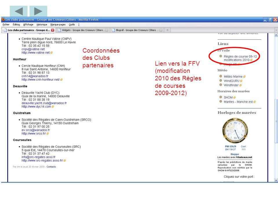 Coordonnées des Clubs partenaires Lien vers la FFV (modification 2010 des Règles de courses 2009-2012)